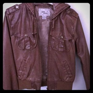 Brown faux leather hooded jacket